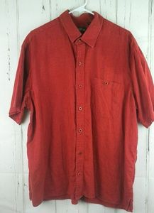 Orvis Size L Hemp Casual Button Front Shirt Red